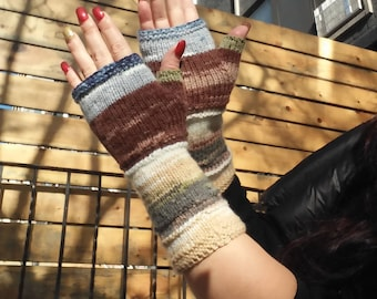 Knit Fingerless gloves | Long Arm warmers |  Pastel wrist warmers| Long Fingerless Mittens | Wrist warmers | Hand warmers |