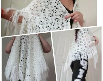 Crochet Shawl / Bridal Shawl / Wedding Shawl / Bridal Shrug / Fringe Shawl/Wraps Shawl  /Wedding Shawl/ Triangle scarf/  Winter Wedding