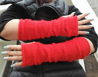 Thumbhole Arm Warmers.Knit Fingerless gloves, Long Fingerless gloves,Red Long Arm warmers ,Knit fingerless mittens  gift for her