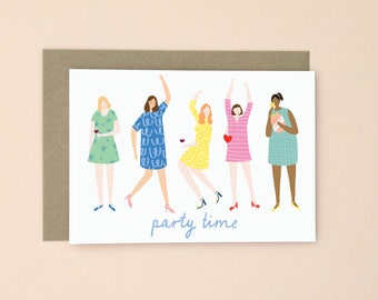 Illustrated Party Time Greetings Card A6