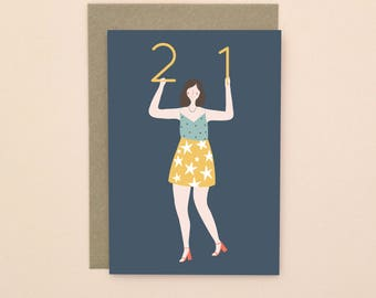 Illustrated 21 Birthday Card A6