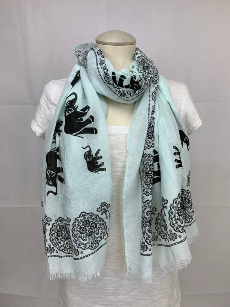 baec02dfdd505 Womens Light Aqua Scarf with Elephants Free Shipping Long | Etsy
