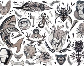 Items Op Etsy Die Op Traditional Tattoo Flash Sheet Designs A3 Bold
