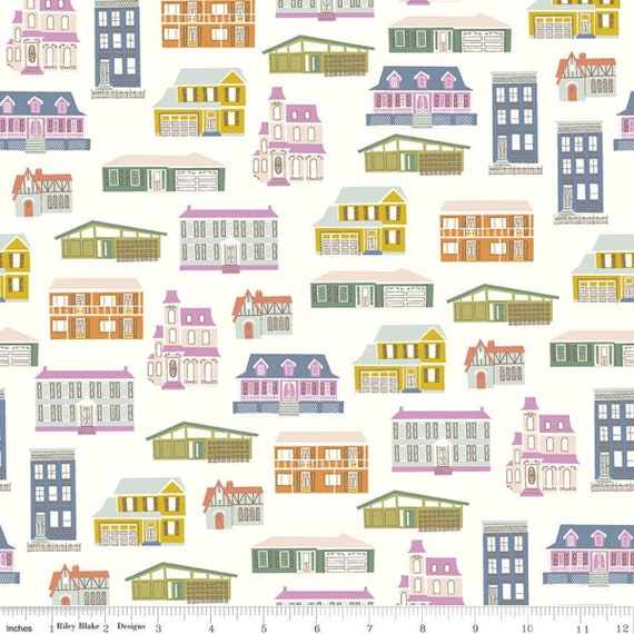Community- 1/2 Yard Increments, Cut Continuously (C11101 Cream Houses) by Citrus and Mint Designs for Riley Blake Designs