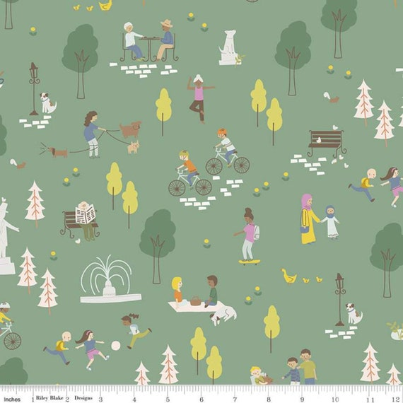 Community- 1/2 Yard Increments, Cut Continuously (C11100 Green Main) by Citrus and Mint Designs for Riley Blake Designs