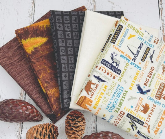 Fat Quarter Bundle (5 Fabrics) National Parks- by Anderson Design Group for Riley Blake Designs with Outdoors Basics