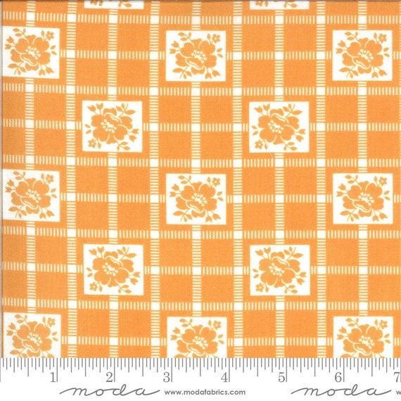 Shine On- 1/2 Yard Increments, Cut Continuously (55212-19 Nectarine Check) by Bonnie and Camille for Moda
