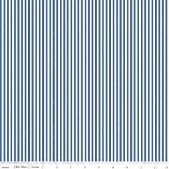 "1/8"" Stripe by Riley Blake Basic- C495 Denim- 1/2 Yard Increments, Cut Continuously"