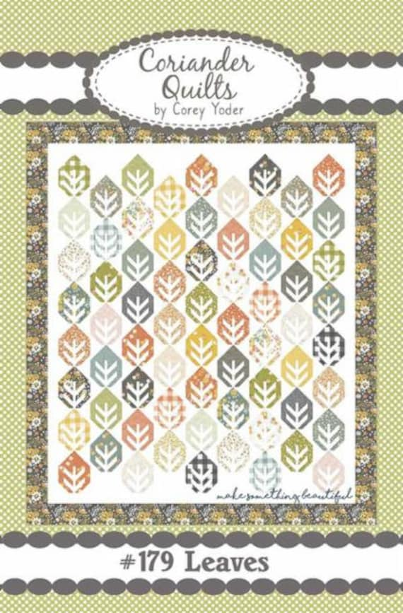 """Leaves Quilt KIT with Paper Pattern in Cozy Up Fabric by Corey Yoder for Moda Fabrics- Finished Size 66"""" x 76"""""""