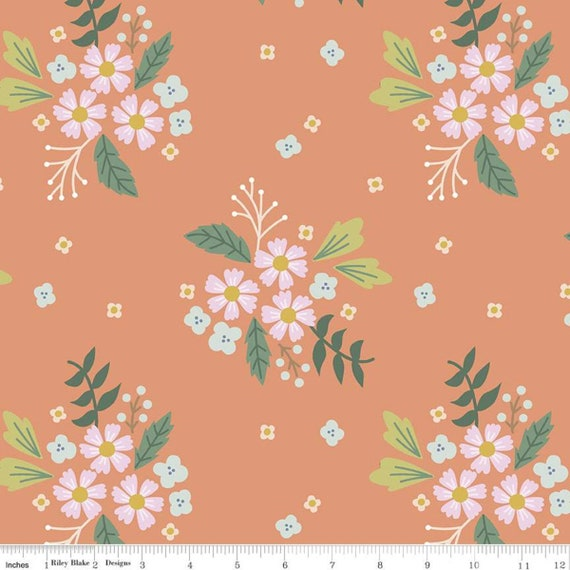 Community- 1/2 Yard Increments, Cut Continuously (C11102 Coral Floral) by Citrus and Mint Designs for Riley Blake Designs