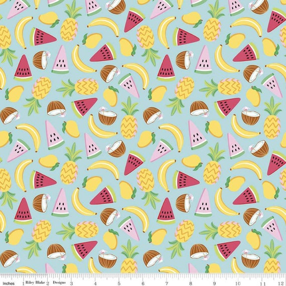 Rainbow Fruit- 1/2 Yard Increments, Cut Continuously -C10891 Aqua Lets Get Coconuts by Damask Love  for Riley Blake Designs