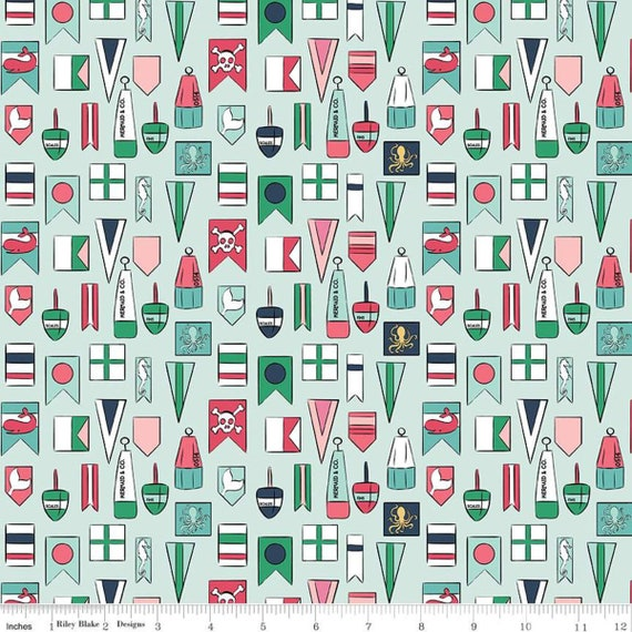 Ahoy Mermaids- 1/2 Yard Increments, Cut Continuously (C10342 Seafoam Flags) by Melissa Mortenson for Riley Blake Designs