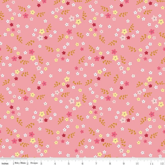 Stardust- 1/2 Yard Increments, Cut Continuously (SC10503 Floral Peony w/Metallic Gold) Beverly McCullough for Riley Blake Designs