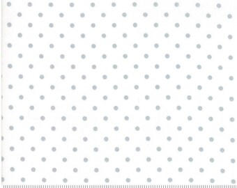 1/2 Yard Vintage Holiday by Bonnie and Camille for Moda- 55162-18 Metallic Silver Christmas Dot