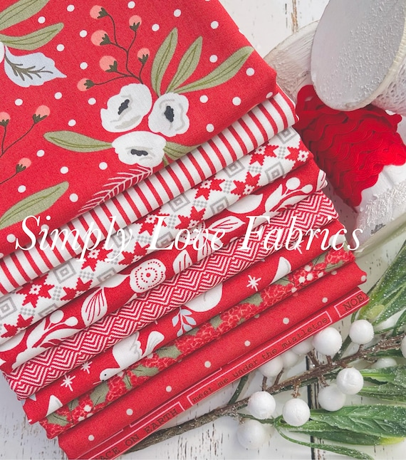 Christmas Morning- 1/2 Yard Bundle (9 Red Fabrics) by Lella Boutique for Moda