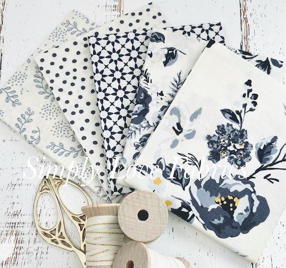 Gingham Foundry -Fat Quarter Bundle- 5 Cream Fabrics by My Minds Eye for Riley Blake Designs