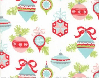 1/2 Yard Vintage Holiday by Bonnie and Camille for Moda- 55160-18 Ivory Vintage Ornaments