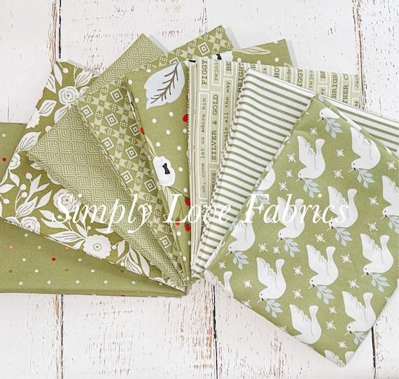 Christmas Morning- Fat Quarter Bundle (8 Green Fabrics) by Lella Boutique for Moda