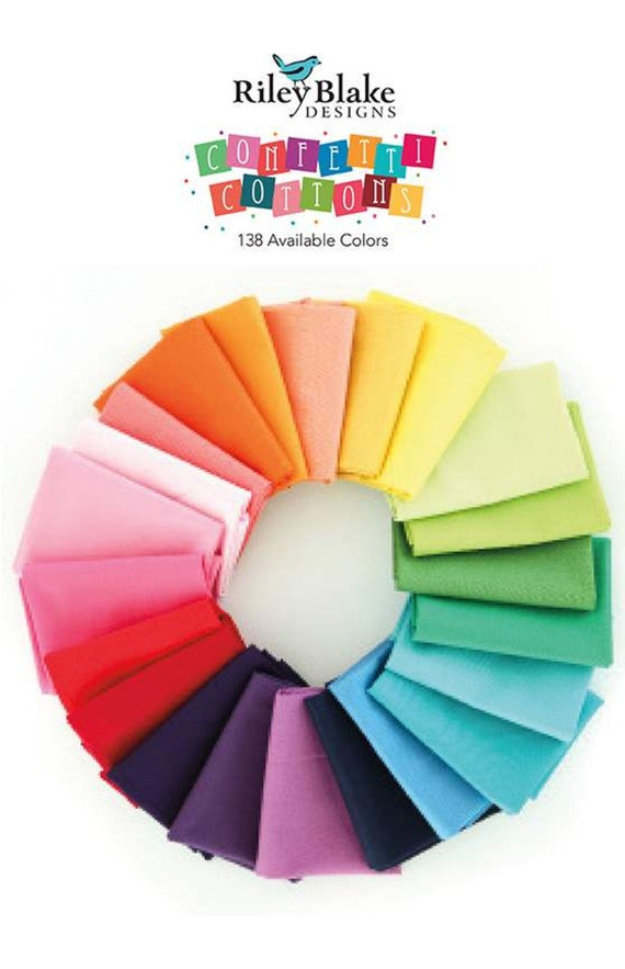 Confetti Cotton Solids Swatch Card- 138 Colors- by Riley Blake Designs- SW7060