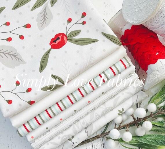 Christmas Morning- 1/2 Yard Bundle (7 White Fabrics) by Lella Boutique for Moda