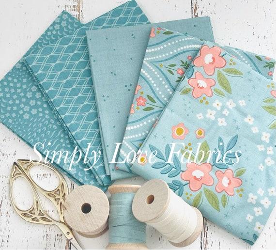 Primrose Hill -Fat Quarter Bundle- 5 Teal Fabrics by Melanie Collette for Riley Blake Designs