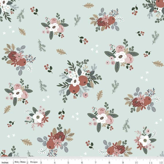 Warm Wishes -1/2 Yard Increments, Cut Continuously - (C10781 Sky Floral) by Simple Simon and Company