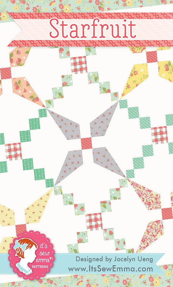 """Starfruit Quilt Pattern by It's Sew Emma Ptterns using Strawberry Jam for Moda Fabrics- ISE-213- Finished Quilt Size 54.5"""" x 54.5"""""""