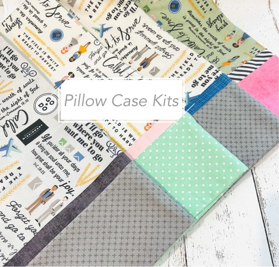 FLANNEL Pillow Case Kit- Called to Serve Fabric by Deena Rutter for Riley Blake Designs- Free Pattern