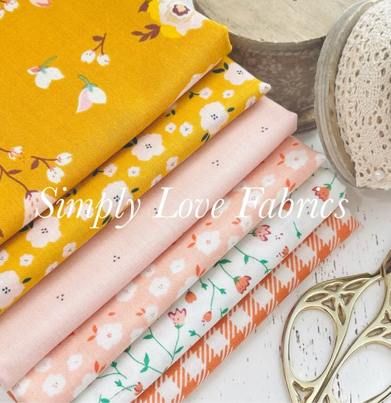 Hidden Cottage- 1/2 Yard Bundle (6 Fabrics Butterscotch Main) by Minki Kim for Riley Blake Designs