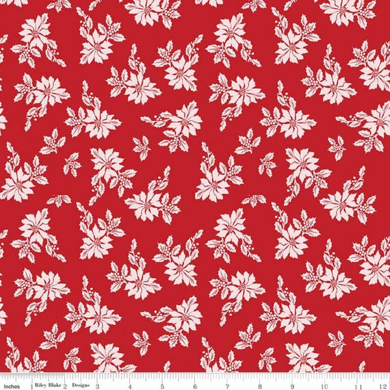 Santa Claus Lane -1/2 Yard Increments Cut Continuously- C9611 Red Poinsettias- by Melissa Mortenson for Riley Blake Designs