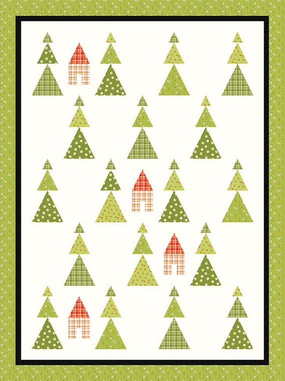 """Among the Pines Quilt Pattern- Merry Little Christmas Fabric by Sandy Gervais for Riley Blake Designs- P157- Finished Size 54"""" x 72"""""""