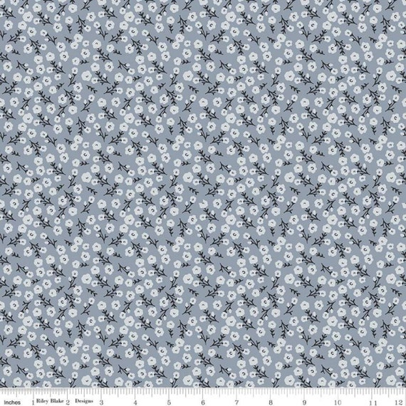 Gingham Foundry -1/2 Yard Increments, cut continuously -  Blue Blossoms - C11134  by My Minds Eye for Riley Blake Designs