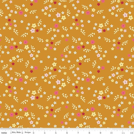 Stardust- 1/2 Yard Increments, Cut Continuously (C10503 Floral Butterscotch) Beverly McCullough for Riley Blake Designs