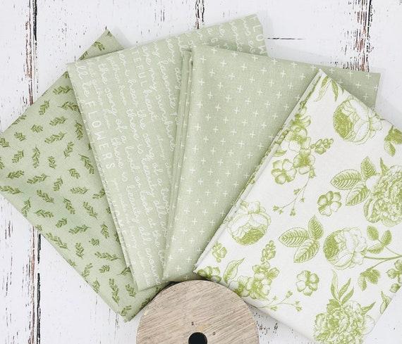 Gingham Gardens- Fat Quarter Bundle- 4 Green Fabrics by My Minds Eye for Riley Blake Designs
