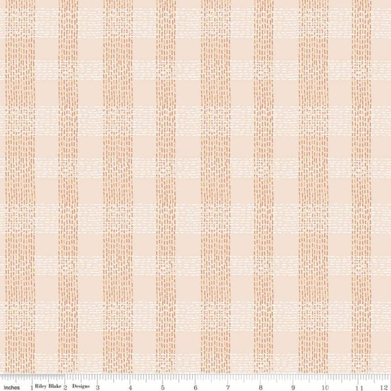 Community- 1/2 Yard Increments, Cut Continuously (C11106 Blush Plaid) by Citrus and Mint Designs for Riley Blake Designs