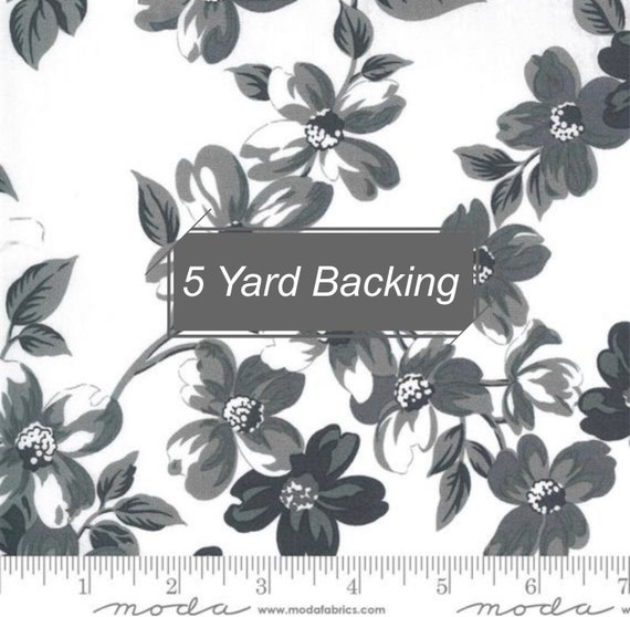 5 Yard Backing- Sunday Stroll- 55220-27 Full Bloom White Grey by Bonnie and Camille for Moda