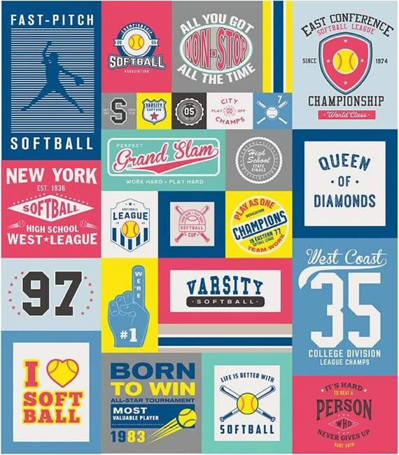 "Varsity Softball Panel by Deena Rutter For Riley Blake Designs- P7961 -Panel Size 56"" x 64"""