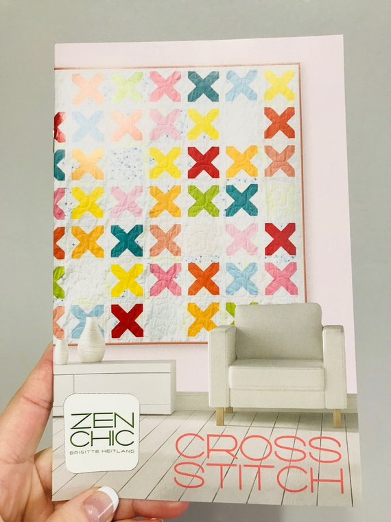 """Cross Stitch Quilt Pattern by Zen Chic for Moda- Finished Quilt 80"""" x 80"""""""