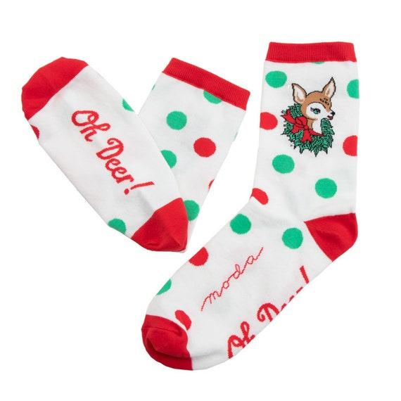 Deer Christmas Socks Moda- Socks 19- One Size