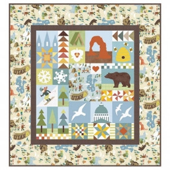 """Utah Quilt PAPER Pattern by Riley Blake Designs- 56"""" x 60"""" Finished size- P120"""