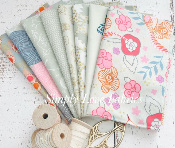 Purl -Fat Quarter Bundle (8 Fabrics Shell Cream) by Sarah Watts for Ruby Star Society