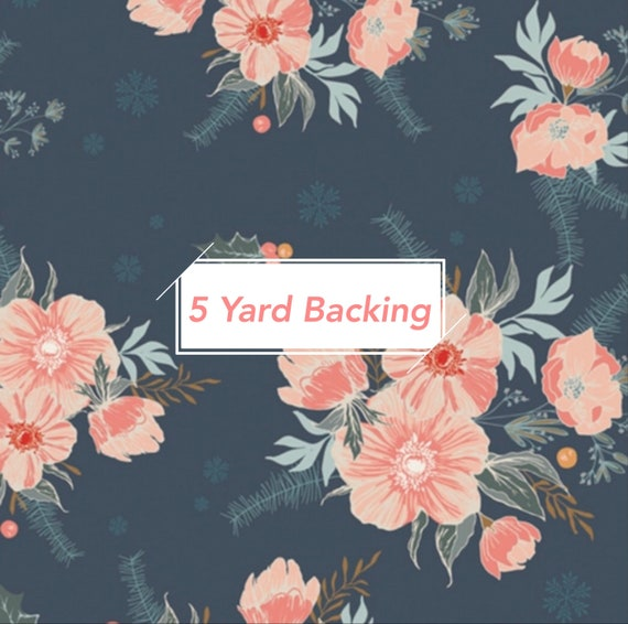 5 Yard Backing- Cozy and Magical- CMA 25120 Frosted Roses Midnight- by Maureen Cracknell for Art Gallery Fabrics