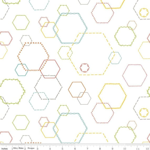 Hush Hush-1/2 Yard Increments, Cut Continuously (11180 Embroidered Hexies) by Heather Peterson of Anka's Treasures For Riley Blake Designs