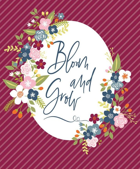 """Bloom and Grow- Panel (36"""" x 44"""" Burgundy) by Simple Simon and Co. for Riley Blake Designs- P10116"""