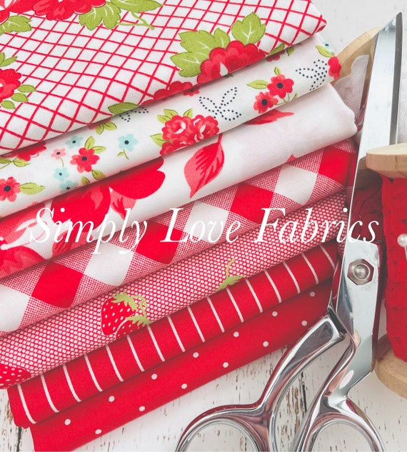 Sunday Stroll- 1/2 Yard Bundle (7 Fabrics Red) by Bonnie and Camille for Moda
