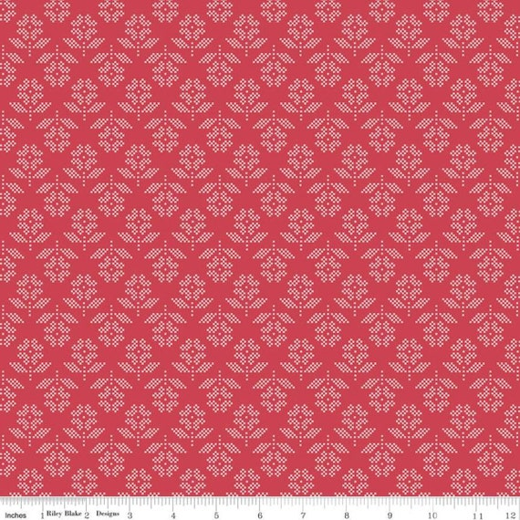 Stitch- 1/2 Yard Increments, Cut Continuously  (C10932 Cayenne Flower) by Lori Holt for Riley Blake Designs