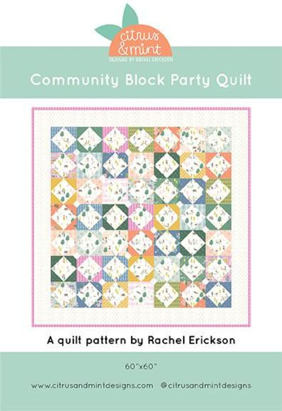 """Community Block Party Quilt KIT with Paper Pattern by Citrus and Mint for Riley Blake Designs- Finished Size 60"""" x 60"""""""