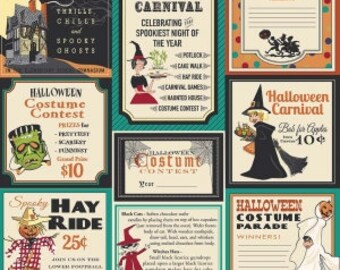 SALE!! 1 Yard Trick or Treat by Carta Bella for Penny Rose Fabrics- 5990 Teal