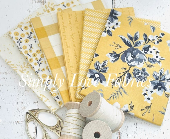 Gingham Foundry -Fat Quarter Bundle- 6 Beehive Fabrics by My Minds Eye for Riley Blake Designs