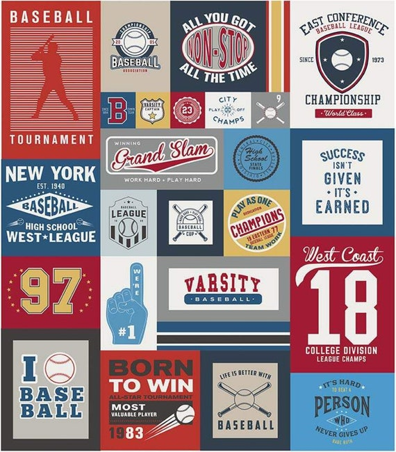 "Varsity Baseball Panel by Deena Rutter For Riley Blake Designs- P7959- Panel Size 56"" x 64"""